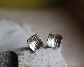 Silver Square Post Earrings- Organic Silver