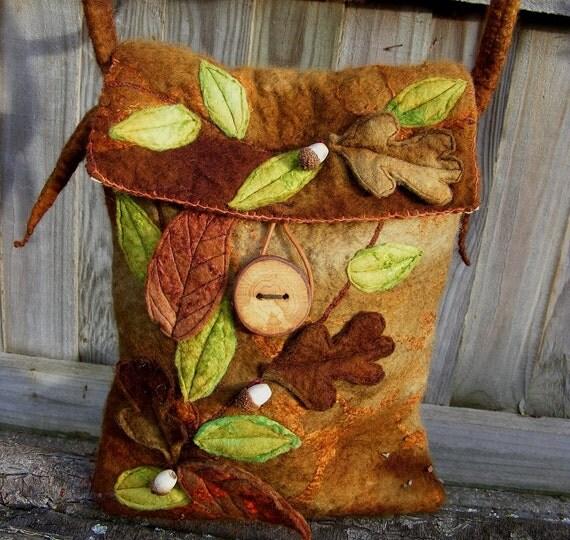 RESERVED for Lisa Acorn Hand Felted Elf Messenger Bag