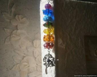 Chakra BOOKMARK - Tree of Life,  Balance of Energy, Yoga, Hinduism, Buddhism, Reiki, 7 Chakras Jewelry, Hematite, Rainbow