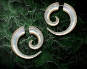 Siries Spirals - Mother Of Pearl, Fake Gauges, Hoops, Tribal Earrings - Fake Gauge Earrings, Tribal Jewelry, Organic, Handmade, Cheaters, M4