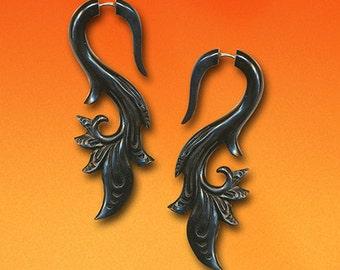 Fake Gauge,Tribal Earrings, Sarahs Curls, Black Horn, Split, Cheaters, Plug Earrings, Organic, Expanders - H24