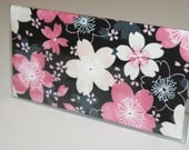 "Fabric Checkbook Cover WIth Vinyl Covering Made with Japanese Wagara Print   ""Sakura Bokashi"""