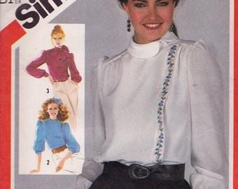 """Simplicity 5485 Misses' Asymmetrical Blouse Pattern, UNCUT, Size 12, Bust  34"""", 1982"""