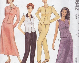 McCall's 8642 Misses' Tops, Pants and Skirt Pattern, UNCUT, Size 16-18-20, Plus Size