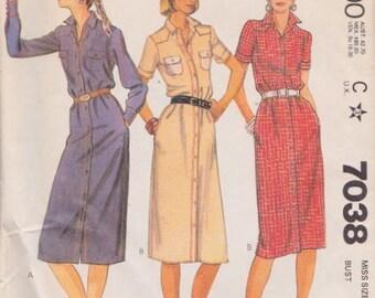 "McCall's 7038 Misses' Dress Pattern, UNCUT, Size 12, Bust 34"", Slim Shirt Dress"