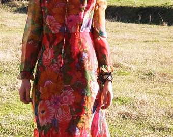 60s Red floral sheer dress.