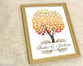 Fall Wedding Tree Guestbook Print - 16x20 - 100 Personalized Signature Wedding Guest book Poster