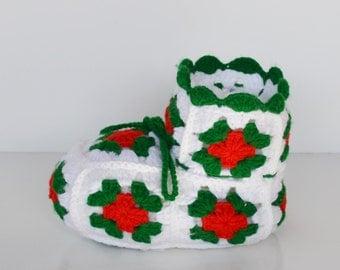 Vintage Crochet Christmas Boot Christmas Decoration Candy Dish
