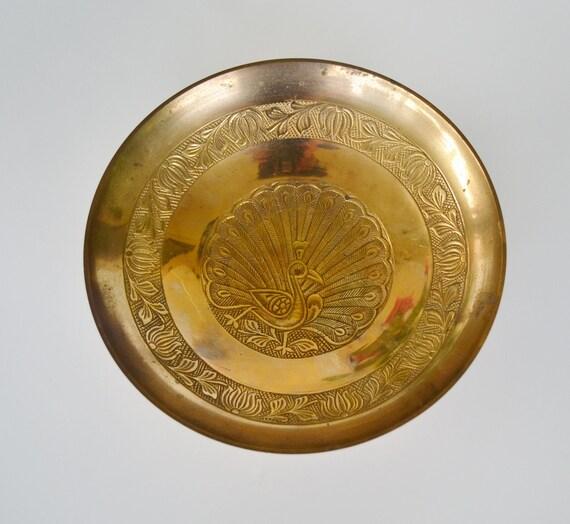 Vintage Brass Peacock Bowl Brass Oriental trinket dish