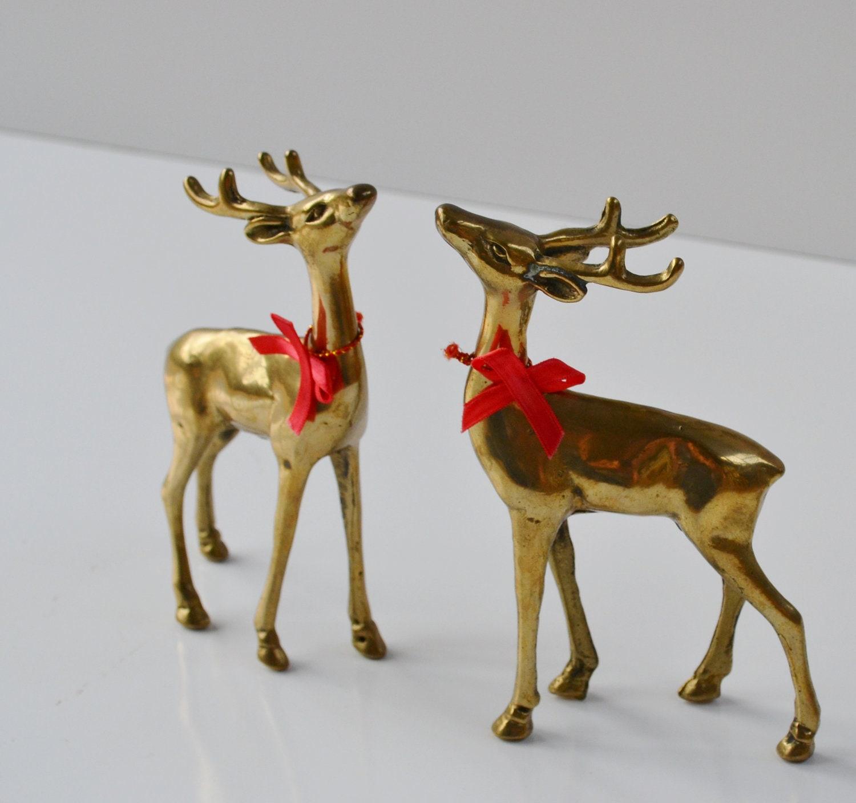Vintage Brass Deer Figurines Reindeer Christmas Decorations