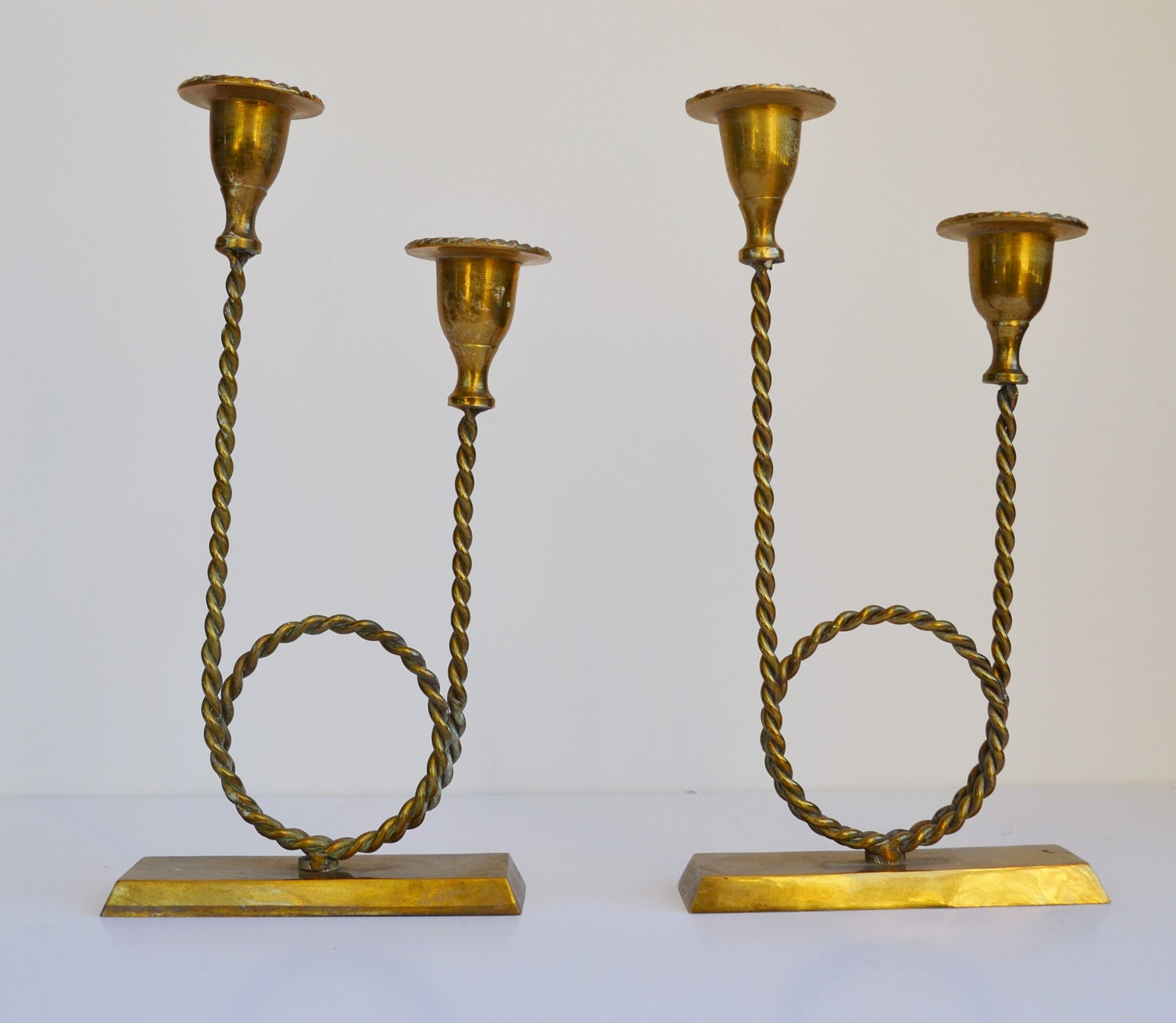 vintage brass rope candle holder candelabra set of 2 mid