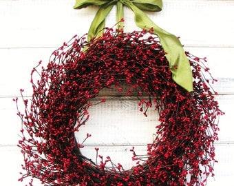 Summer Door Wreath-Winter Wreath-Front Door Wreath-Valentine Gift-Holiday Wreath-Country Home Decor-SCENTED WREATHS-Red Berry Wreath-Gifts
