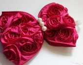 """LIMITED EDITION---Hot Pink rosette bow tie on metal headband """"Megan"""""""