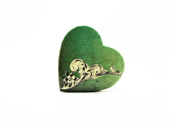 Heart-Shaped Box - Blue-Green - Decoupaged & Lacquered - Small Trinket Box - Handmade -Unique Gift