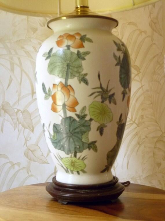 Large Vintage Asian Ginger Jar Lamp With Lotus Flower Design