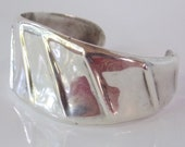 Vintage Ribbed Taxco Mexican Silver  Cuff Bracelet 43 grams