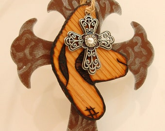 Rusty Christian Cross Woodburned Cowboy Hat Silver Cross Pendent Silver Hand Painted