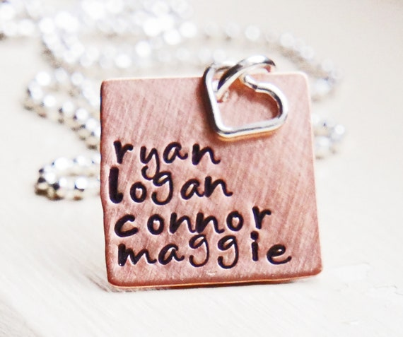 Name Necklace Square Copper Personalized Hand Stamped Mommy Jewelry Sterling Heart Charm Necklace Everyday JewelryMothers Day