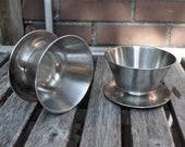 SALE SALE Denmark made Mod Retro Danish Modern Stainless Steel Ice Cream Cups or Gravy Boats