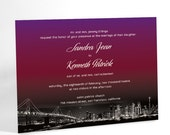 Ombre Wedding Invitations, City Wedding, Sunset Over City Skyline, City Lights San Francisco, Urban Elegant Invites, Custom Colors Available