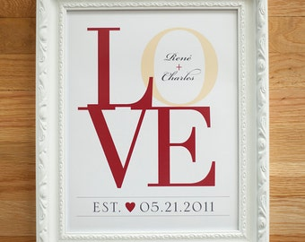 Love Print, Wedding Gift for Couples, Love Decor, LOVE Wall Art, Unique Wedding Gift