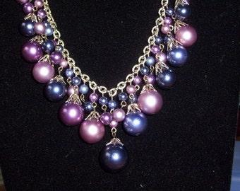 "Dangle Purple Beaded Dangling Necklace 18"""
