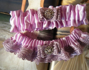 Lilac Satin with Lilac Venice Lace Garter Set ready to ship