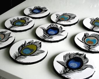 Round canvas art 9x Swarovski & glitter, round painting, round wall art block, multiple canvas peacock feather painting, round peacock art