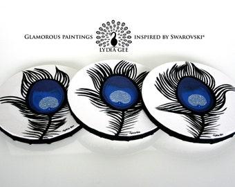 Round painting. Blue peacock feathers round art with Swarovski & glitter. Round art block. Peacock decor. Pacock feather painting. Blue art.