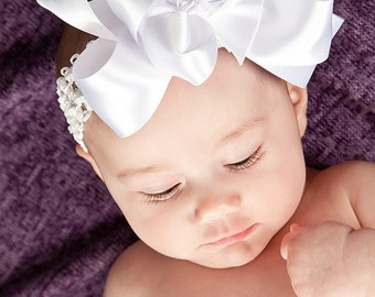 White Satin Hairbow - Double-layered hairbow - girls, infants, children, accessories - Made To Order