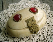 Vintage Carved Bone Box with Glass and Brass