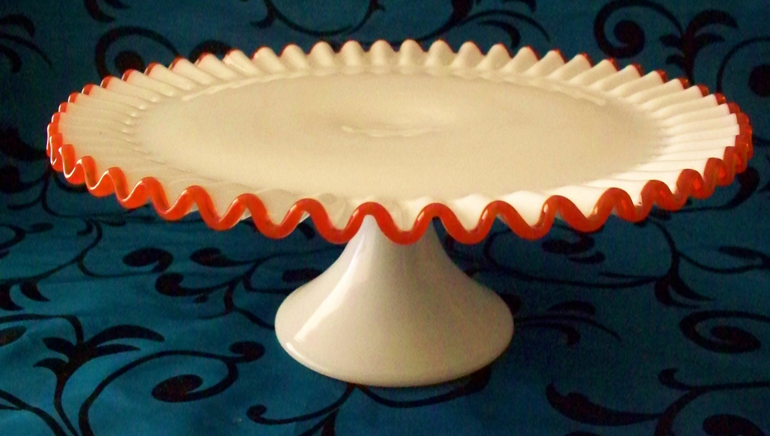RESERVED 4 Lisa Fabulous Fenton Flame Crest Cake Stand Ultra