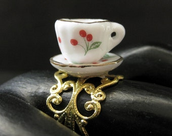 Cherry Teacup Ring. Porcelain Tea Cup Ring with Cherries. Gold Filigree Adjustable Ring. Handmade Jewelry.