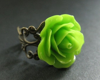 Apple Green Rose Ring. Green Flower Ring. Adjustable Ring. Filigree Ring. Flower Jewelry. Handmade Jewelry.