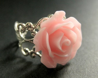 Pink Rose Ring. Pink Flower Ring. Adjustable Ring. Filigree Ring. Flower Jewelry. Handmade Jewelry.