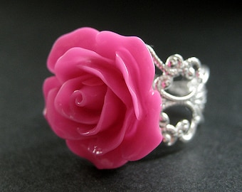 Hot Pink Rose Ring. Pink Flower Ring. Filigree Adjustable Ring. Flower Jewelry. Handmade Jewelry.