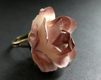 Brown Flower Ring with Antiqued Brown Rose Paper Flower. Adjustable Ring in Bronze. Handmade Jewelry.