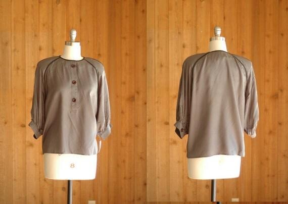 SALE / vintage grey silk blouse / size large