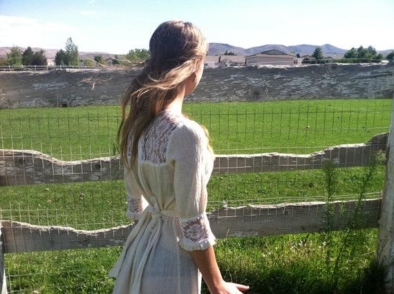 Vintage Neoclassical Lace Linen Sun Dress.