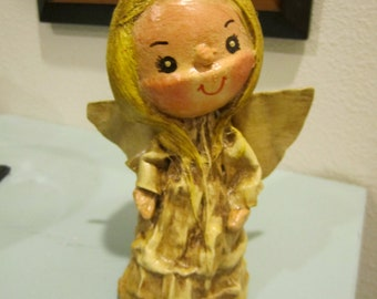 Vintage Paper Mache Angel Tree Topper blond hair and antique detail