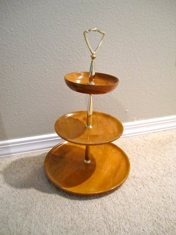 3 Tiered Oregon Myrtle wood Dish Serving or display Mid Century Modern look