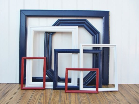 CLEARANCE Nautical Painted Frame Set of 7 Red, White, and Blue Upcycled Vintage Gallery Wall Frame Set SALE