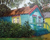 """Oil painting of a lovely little """"Tobacco Shack"""" was inspired by a recent trip to Florida"""