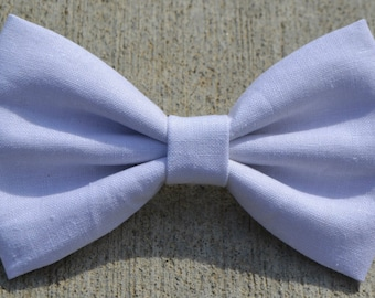 White Linen-Look Hair Bow