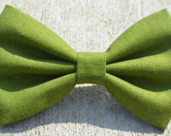 Green Linen-Look Hair Bow