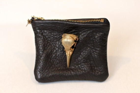 Leather and Gold Bird Skull Wallet/Coin Purse
