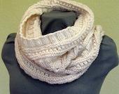 Infinity Scarf Cowl Wrap White Hand knit, Wool, Alpaca
