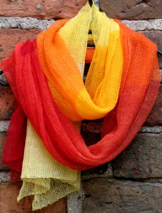 Linen Scarf Shawl Wrap Stole yellow orange red burgundy - Multicolored, Light, Transparent