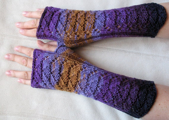 Long Fingerless Gloves Black Violet Brown knit Arm Warmers Mittens, Wool