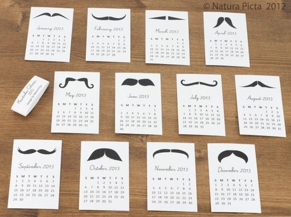 Mustache Mini Calendar - 2.2x3.5 inch on White Paper - created by NATURA PICTA